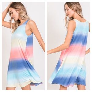 Sleeveless Ombré Stripe Dress